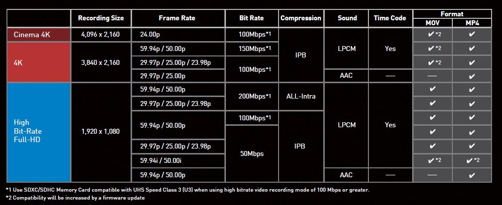 Formatos Video 4k Panasonic X1000